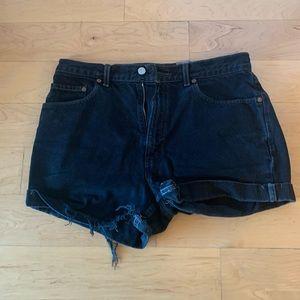 Levi's black high waisted 505 denim shorts